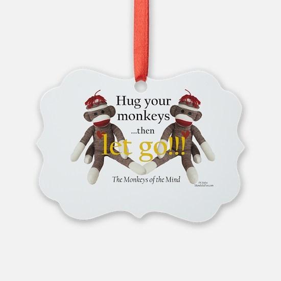 Sock Monkey Letting Go Ornament