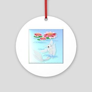 White Koi Round Ornament