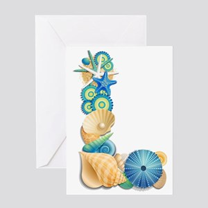Beach Theme Initial L Greeting Card