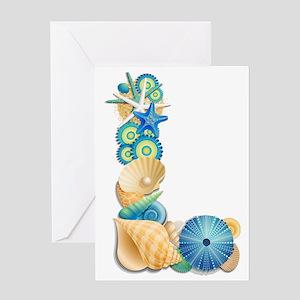 Beach Theme Initial L Greeting Card
