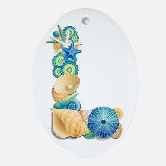 Beach Theme Initial L Oval Ornament