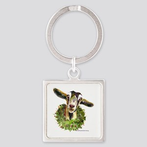 Christmas Goat Square Keychain