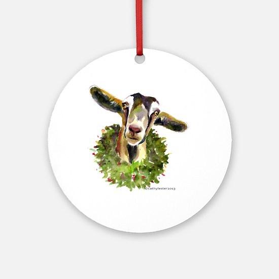 Christmas Goat Round Ornament