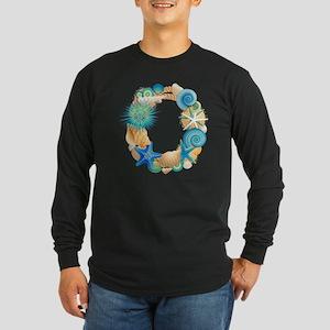 Beach Theme Initial O Long Sleeve Dark T-Shirt