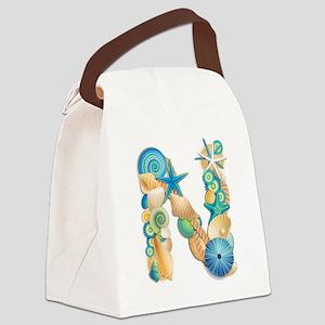 Beach Theme Initial N Canvas Lunch Bag