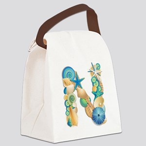 Beach Theme Initial N Canvas Lunch Bag