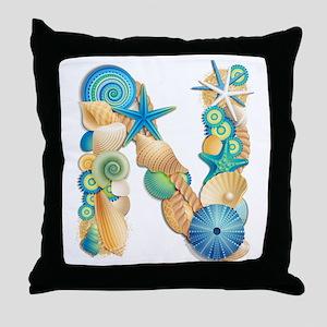 Beach Theme Initial N Throw Pillow