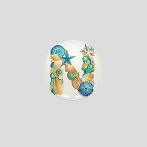 Beach Theme Initial N Mini Button