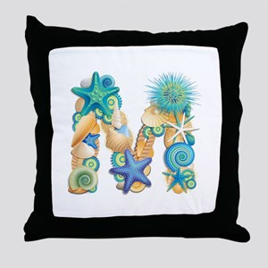 Beach Theme Initial M Throw Pillow