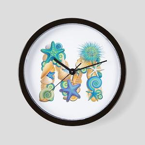 Beach Theme Initial M Wall Clock