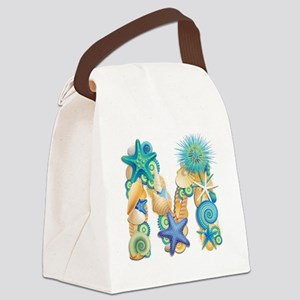Beach Theme Initial M Canvas Lunch Bag