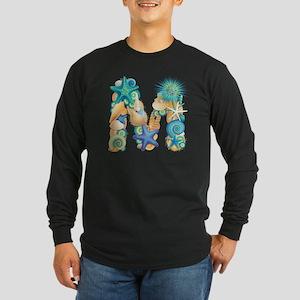 Beach Theme Initial M Long Sleeve Dark T-Shirt