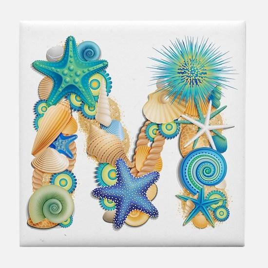 Beach Theme Initial M Tile Coaster