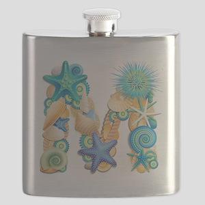 Beach Theme Initial M Flask
