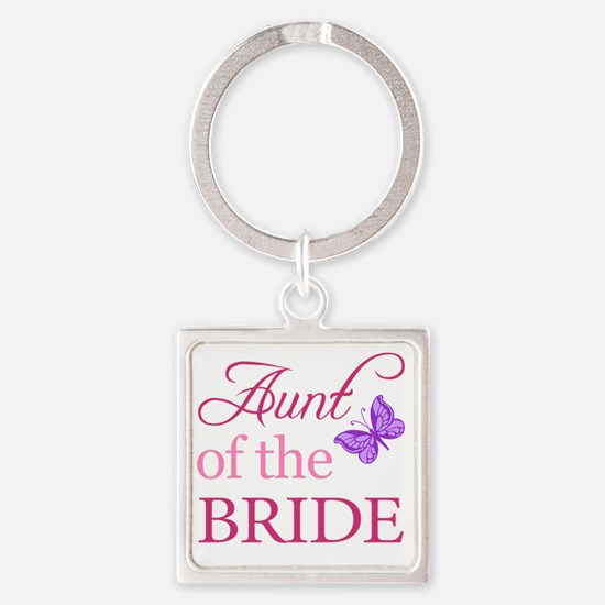 Aunt Of The Bride (Butterfly) Square Keychain