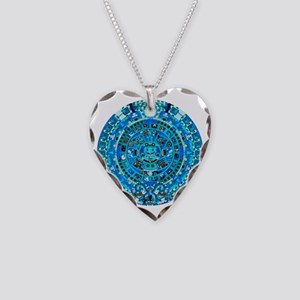 Ancient Mayan Calendar Necklace Heart Charm