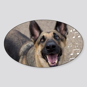 German Shepherd Birthday Card Sticker (Oval)