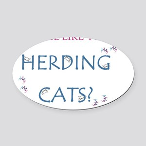 Herding cats color Oval Car Magnet