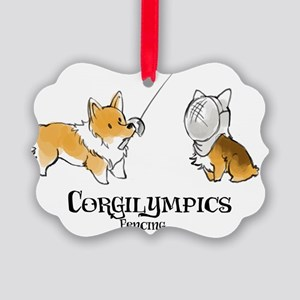 Corgilympics - Fencing Picture Ornament