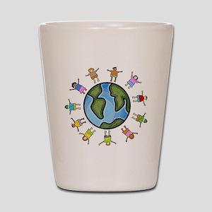 peace love multicultural children Shot Glass
