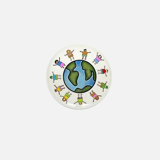 peace love multicultural children Mini Button