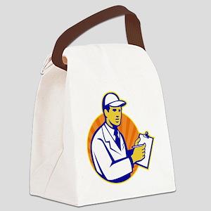 Technician Inspector Worker Clipb Canvas Lunch Bag