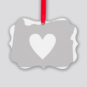 Heart Oregon state silhouette Picture Ornament