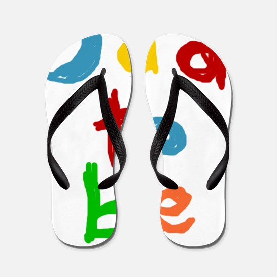 Primary Color Text Dad To Be Flip Flops