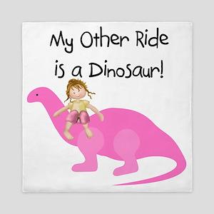 Girl on Pink Dinosaur Queen Duvet