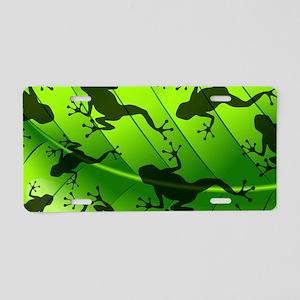 Frog Shape on Green Leaf Aluminum License Plate
