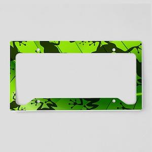 Frog Shape on Green Leaf License Plate Holder