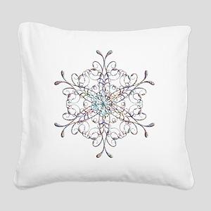 Iridescent Snowflake Square Canvas Pillow