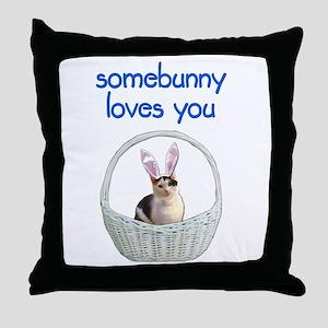 Somebunny loves you Throw Pillow