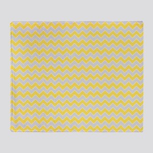 Chevron Zigzag Pattern Grey and Yell Throw Blanket