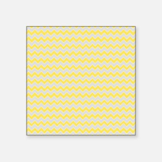 "Chevron Zigzag Pattern Grey Square Sticker 3"" x 3"""