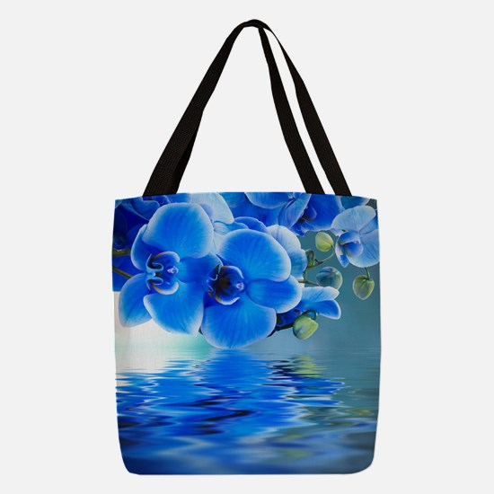 Blue Orchids Polyester Tote Bag