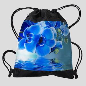 Blue Orchids Drawstring Bag
