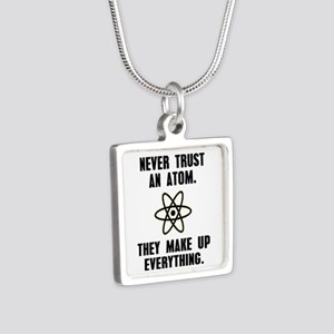 Never Trust an Atom Silver Square Necklace