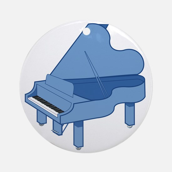 Blue Baby Grand Piano Round Ornament