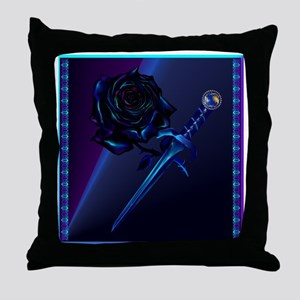 Black Rose and Dagger Throw Pillow