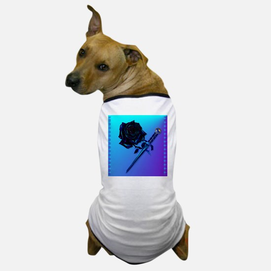 Black Rose and Dagger-2 Dog T-Shirt