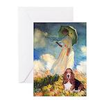 Umbrella & Basset Greeting Cards (Pk of 10)