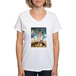 Umbrella & Basset Women's V-Neck T-Shirt