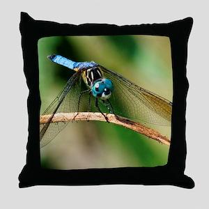 Blue Dasher Skimmer Dragonfly Throw Pillow