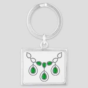 Emerald and Diamond Necklace Landscape Keychain