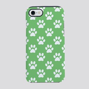 Green and white paws pattern iPhone 7 Tough Case