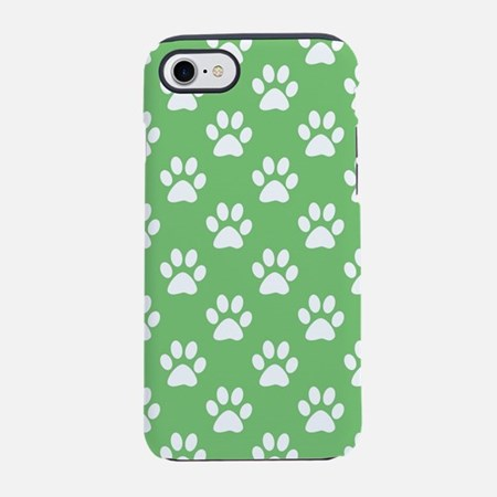 Green and White Paws Pattern