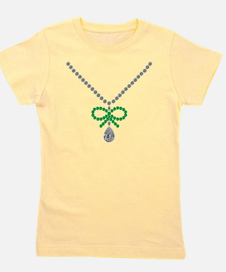 Emerald Bow and Diamond Necklace Girl's Tee