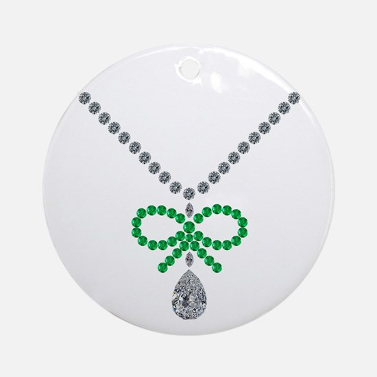 Emerald Bow and Diamond Necklace Round Ornament