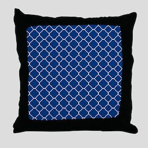 Navy Blue Quatrefoil Pattern Throw Pillow